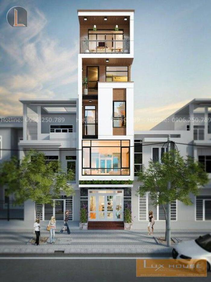 mẫu nhà phố 5 tầng mặt tiền 5m