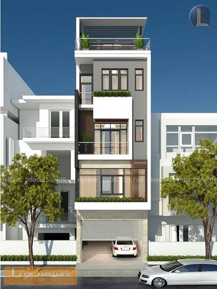 mẫu thiết kế nhà phố có gara