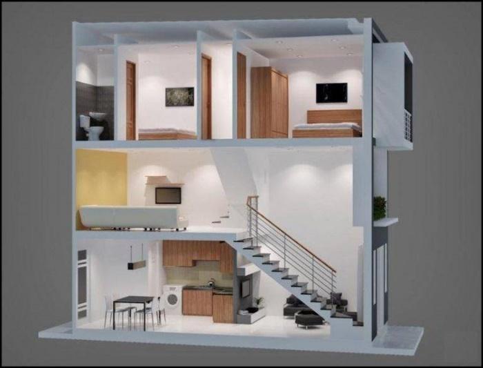 thiết kế nhà 1 triệt 1 lửng 1 lầu
