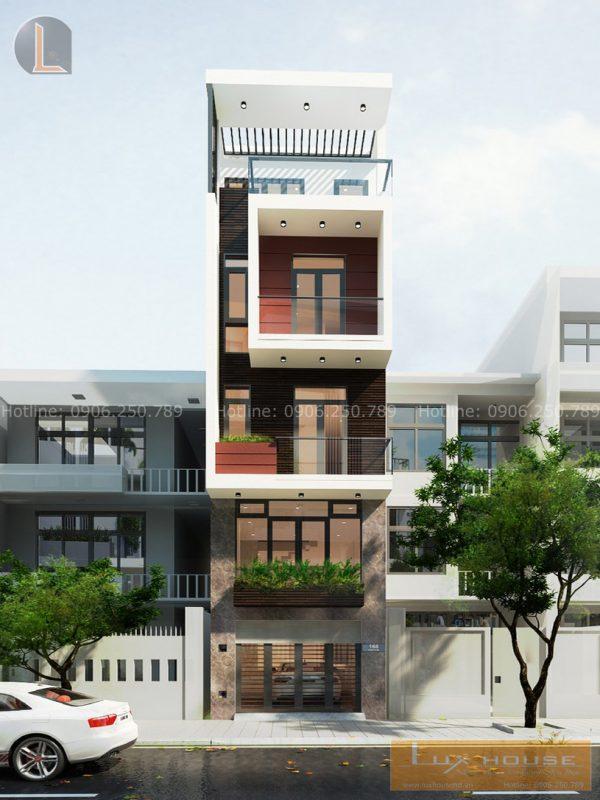 Bản Vẽ Nhà Phố Hiện Đại 3 Tầng 1 Lửng, 50m² :