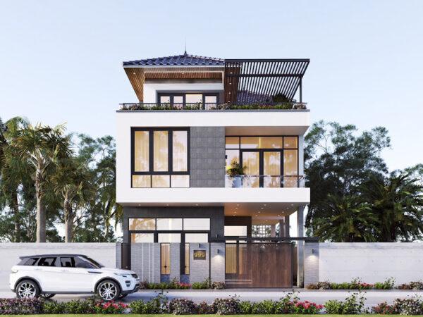 mẫu thiết kế nhà phố có mái