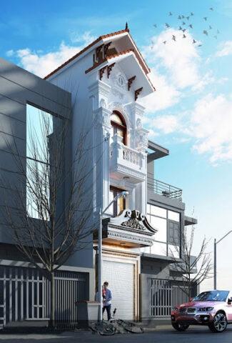 thiết kế nhà biệt thự kết hợp mái đỏ tại hải dương
