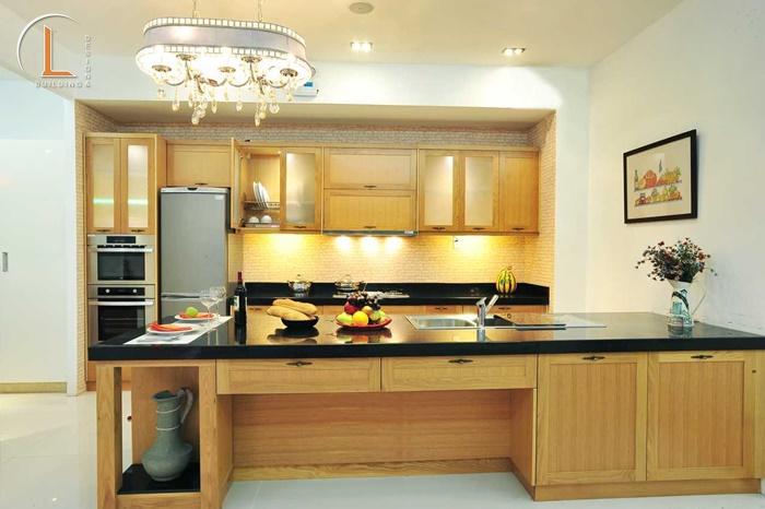 nội thất phòng bếp gỗ sồi