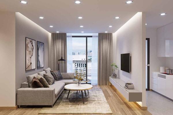 nội thất phong khách chung cư tối giản