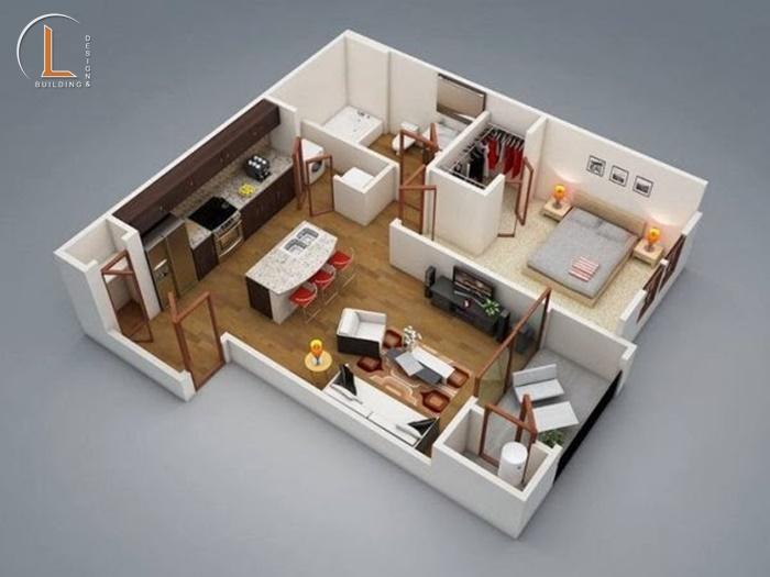 thiết kế nội thất căn hộ chung cư 50m2