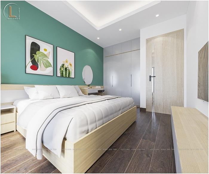 Mẫu phòng ngủ với màu xanh lá cây mát mẻ