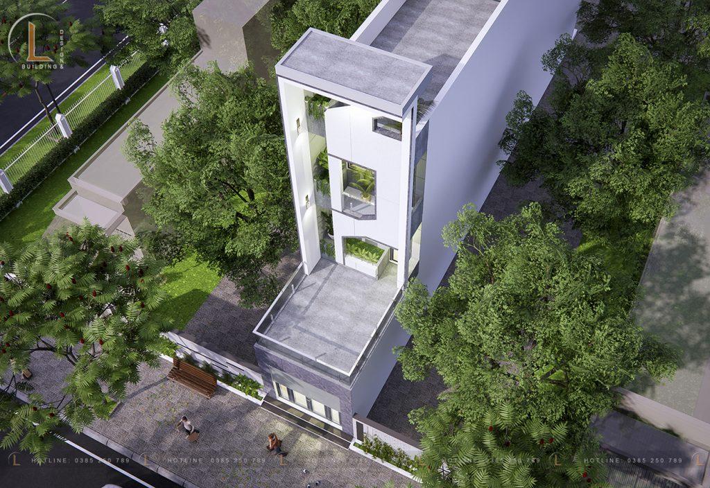 Không gian trên cao nhà 4 tầng diện tích 4x25m