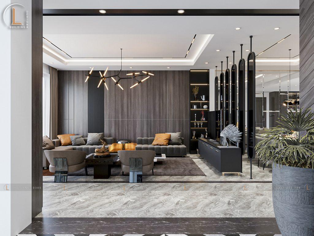 Phòng khách thiết kế biệt thự hiện đại