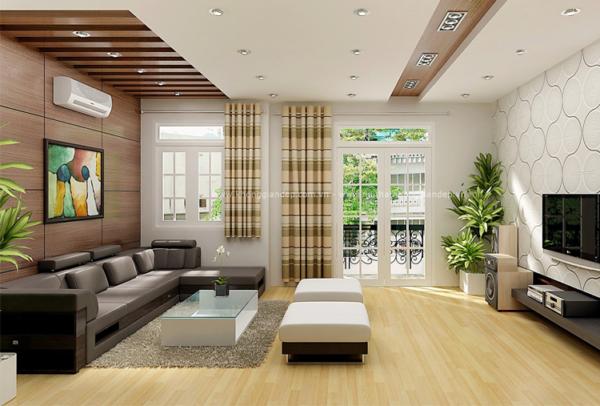 sử dụng cây xanh cho phòng khách nhà ống