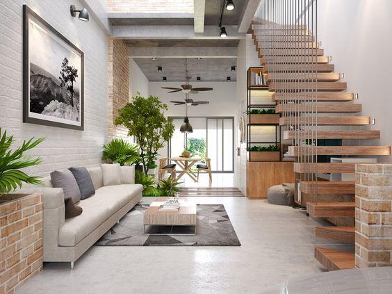 thiết kế không gian xanh phòng khách