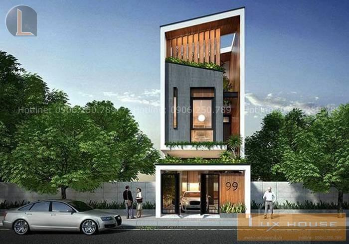 thiết kế nhà phố mái dốc