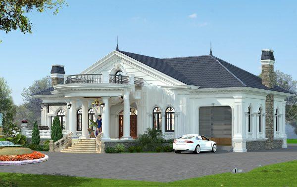 thiết kế biệt thự 1 tầng tân cổ điển