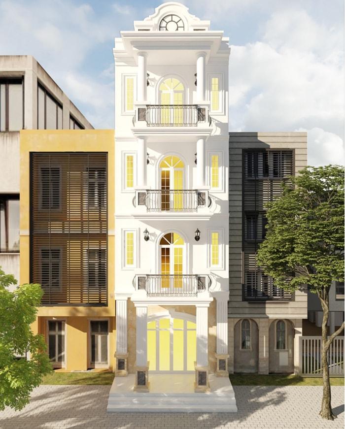 mẫu nhà 4 tầng phong cách cổ điển