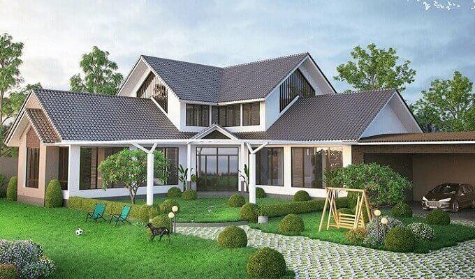 thiết kế biệt thự 1 tầng sân vườn