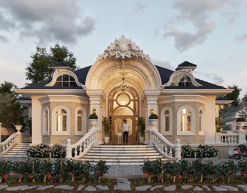 thiết kế biệt thự nhà vườn tân cổ điển