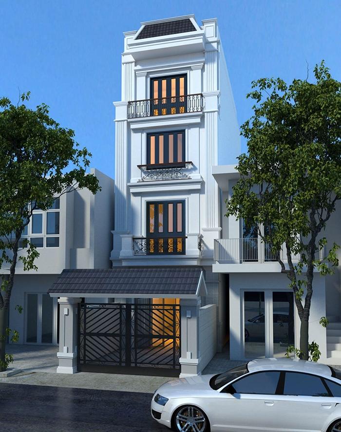 thiết kế nhà 4 tầng tân cổ điển