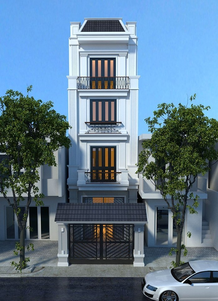 thiết kế nhà ống 4 tầng