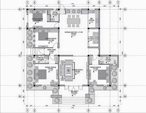 tiêu chuẩn thiết kế biệt thự 1 tầng